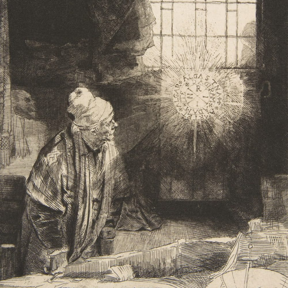Faust in his Study - Rembrandt - Square